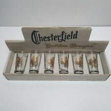 Vintages 1950's Set of 6 Chesterfield Golden Dragon Glasses - Boxed Collectable