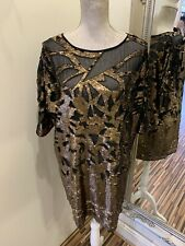 Stunning Bronze Sequin French Connection Dress Size 16 New With Tags