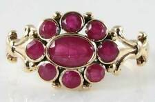 DIVINE 9K 9CT GOLD ALL INDIAN RUBY CLUSTER ART DECO INS RING FREE RESIZE