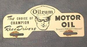 Oilzum Motor Oil White & Bagley Co. Worcester Advertising License Plate Topper