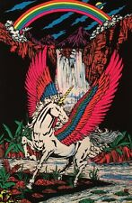 Pegasus Vintage Blacklight Poster Velvet Flocked Pin-up Unicorn In Paradise 1986
