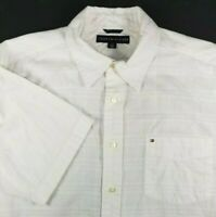 Tommy Hilfiger Mens Short Sleeve Shirt Size L Large White Pattern 100% Cotton