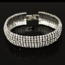 Women 18k White Gold Plated Wedding Bridal Six Row Crystral Bracelet Bangle T57