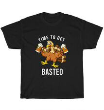 New listing Time To Get Basted Turkey Beer T-Shirt Thanksgiving Thankful Unisex Tee Gift NEW