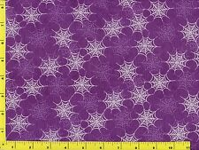 White Light Purple Spider Webs on Purple Quilting Fabric by Yard  #378