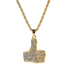 """Men's Hip Hop Gold Plated Crystal Thumb Hands Pendant 27.5"""" Chain Necklace Gifts"""