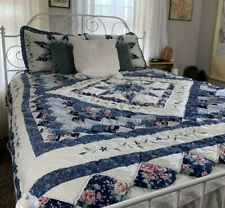 COUNTRY PRAIRIE 8 STAR Queen Patchwork QUILT SET FLORAL FARMHOUSE Scalloped Edge