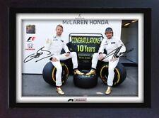 Jenson Button Fernando Alonso signed autographed McLaren Honda Formula 1 Framed