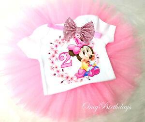 2nd Second Birthday Pink Baby Minnie Mouse Sequins Headband Tutu Outfit Set Girl