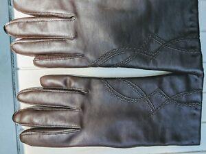 Vtg gloves brown Novahide AVON womens top stitch detail sz B 7 1/2-8 1/2 driving