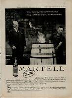 1959 Martell Cognac Brandy Men Standing by Barrel of Fire Vintage Print Ad 2094