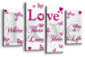"""Love Quote Canvas Wall Art Picture Family Print Powder Grey Split 4 Panel 44"""""""
