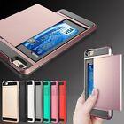 Shockproof Slim Hybrid Card Wallet Hard Back Phone Case Cover For Samsung iPhone