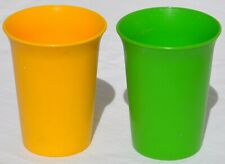 2 Vintage Tupperware Kids Children's Bell Tumblers Sippy Cups #109 Yellow Green