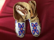 Medium women's Native American Indian suede moccasins antique beaded