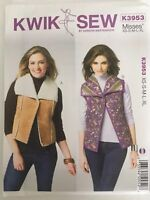 Kwik Sew Pattern K3953 Misses Vest Reversible Option Snap Closure XS-XL Uncut