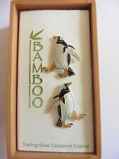 Gentoo Penguin Cloisonne Enamel Earrings, Bamboo, Sterling Silver.