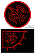 LOT of 2 ODIN RAVEN BANNER FLAG PATCH iron-on VIKING EMBLEM embroidered RED