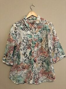 Yarra Trail Cotton Button Up Shirt Blouse collared Size 14