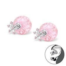 Girls Ladies Sterling Silver Snowflake/ Ear Jacket Double earring-CZ-Boxed.