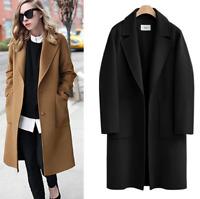 New Womens Lapel Casual Long Trench Coat Woolen Coat Outerwear Plus Size