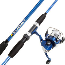 "Matte Black Finish Spinning Rod Pole and Reel Combo Premium Fishing 65"" Combo"