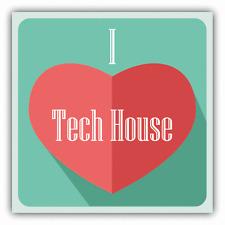 """I Love Tech House Heart Music Car Bumper Sticker Decal 5"""" x 5"""""""
