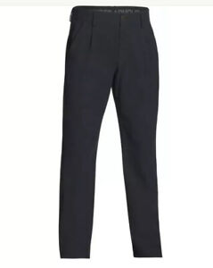 "$80 Under Armour Airvent Pleated Golf Pants Men's Sz 34"" Black Unhemmed 1293915"