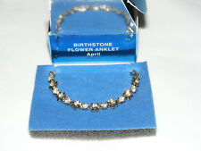 Clear Rhinestone Flower Anklet Av5 Nib (2007) Avon Goldtone April Birthstone