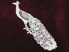 Peacock White Venise Lace Sew On Applique Patch 6 Inch Left Facing