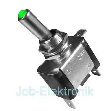 Kippschalter beleuchtet LED grün 12V/20A 1-polig KFZ Schalter Car Switch