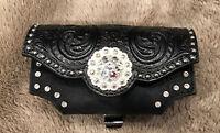 Nocona Black Tooled Leather Phone Case Holder Belt Clip Rhinestone Studs Cowgirl