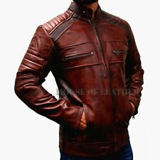 Men Biker Vintage Motorcycle Distressed Brown Lambskin Cafe Racer Leather Jacket