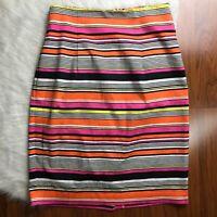 Worthington Womens 4 Skirt Striped Pencil Side Zip Black Orange Yellow