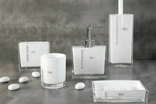 Bad Accessoires Edelsteine Weiß Set 5 teilig Badezimmerset Wc Bürste Seifenspend