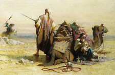 Beautiful Oil painting Arabs Avoid danger at the back of the camel In the desert