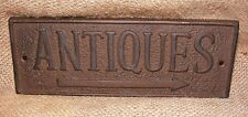 Cast Iron ANTIQUES Sign Wall Garden Country Vintage Decor Rustic Primitive  #303