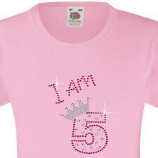 "Girl's Birthday T-Shirt ""I am 5"" Rhinestone Embellished Beautiful Surprise Gift"