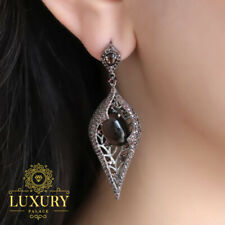 Natural Smoky Quartz 925 Sterling Silver Vintage Gothic Punk Drop Earrings