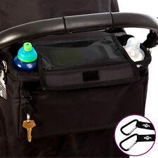 BTR Extra Deep Buggy Organiser Pram Bag PLUS Pram Clips & Mobile Phone Pocket