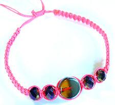 Bracelet brésilien Friendship ajustable Amitié Strass Perles Verre Rose fluo