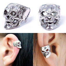 Vintage Retro Silver Gothic Punk Men Women Silver Skull Cuff Ear Clip Jewelry