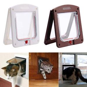 4-Way Safe Lockable Locking Pet Cat Dog Door Brushy Flap Screen L Large Size