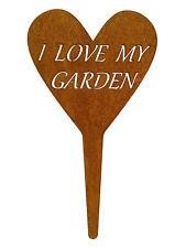 """Rost-Deko Gartenstecker Herz Schild """" I LOVE MY GARDEN """" Blumenbeet Dekoration"""