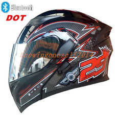 Black Crown Bluetooth Motorcycle Motor Cross Dual Visor Helmet Flip Up Full Face
