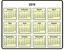 Calendar Computer Mouse Pad Year 2019