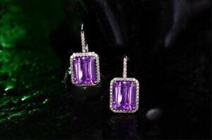 6.20 Ct Emerald Cut Amethyst Drop & Dangle Earrings Solid 14K White Gold Finish.