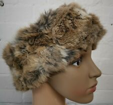 natural brown white real genuine rabbit fur pelt ear warmer headband unisex hat