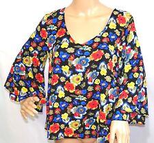 Eci Women Size S Black Blue Red Green Floral Chiffon Tunic Top Blouse Shirt