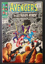"""THE AVENGERS # 36-1966-""""THE ULTROIDS ATTACK!""""-CAPTAIN AMERICA-HAWKEYE-GOLIATH"""